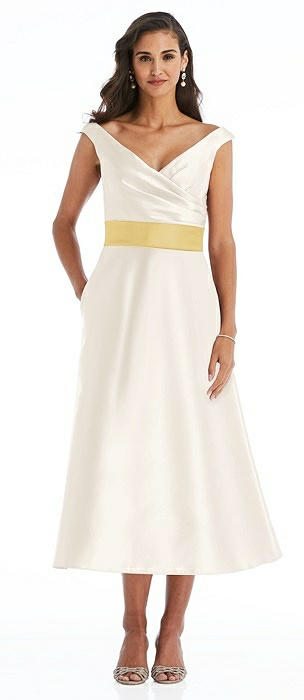 Off-the-Shoulder Draped Wrap Satin Midi Dress with Pockets