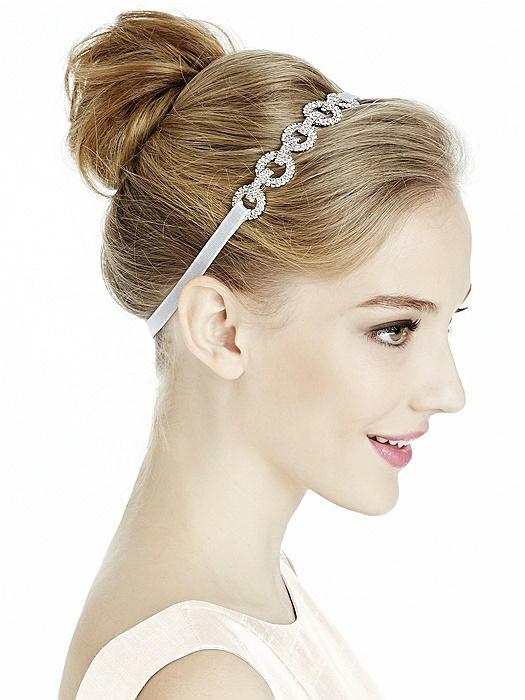 Stretch Ribbon Headband with Rhinestone Link Detail