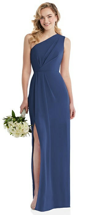 One-Shoulder Draped Bodice Column Gown