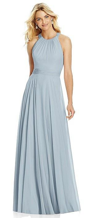 Cross Strap Open-Back Halter Maxi Dress