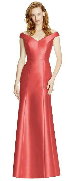 Off-the-Shoulder V-Neck Satin Trumpet Gown