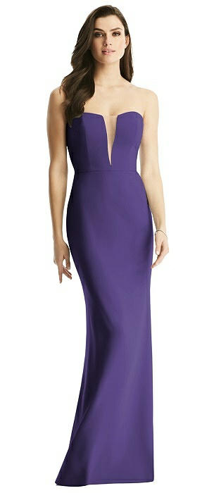Sheer Plunge Neckline Strapless Column Dress