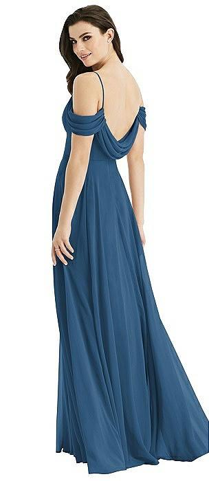 Off-the-Shoulder Open Cowl-Back Maxi Dress