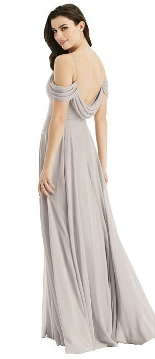 Off-the-Shoulder Open Cowl-Back Maxi Dress