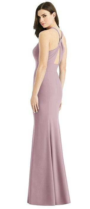Criss Cross Twist Cutout Back Trumpet Gown