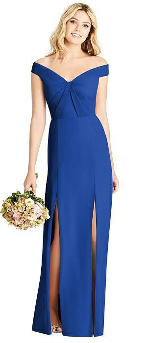 Off-the-Shoulder Pleated Bodice Dress with Front Slits