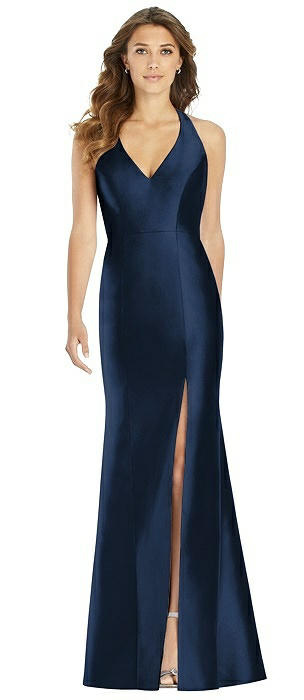 V-Neck Halter Satin Trumpet Gown