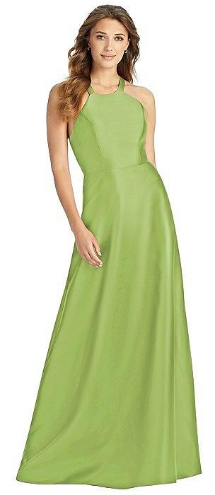 Halter Lace-Up A-Line Maxi Dress