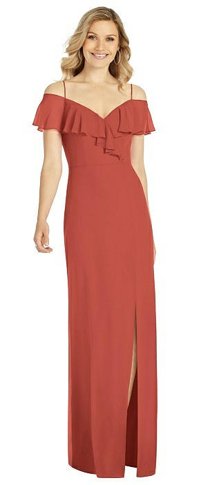 Ruffled Cold-Shoulder Maxi Dress