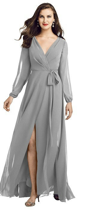 Long Sleeve Wrap Maxi Dress with Front Slit