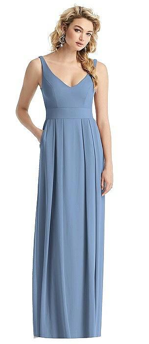 Sleeveless Pleated Skirt Maxi Dress with Pockets