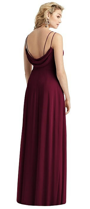 Cowl-Back Double Strap Maxi Dress with Side Slit