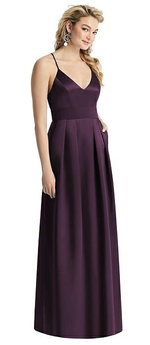 Pleated Skirt Satin Maxi Dress with Pockets
