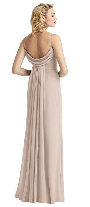 Shirred Sash Cowl-Back Chiffon Trumpet Gown