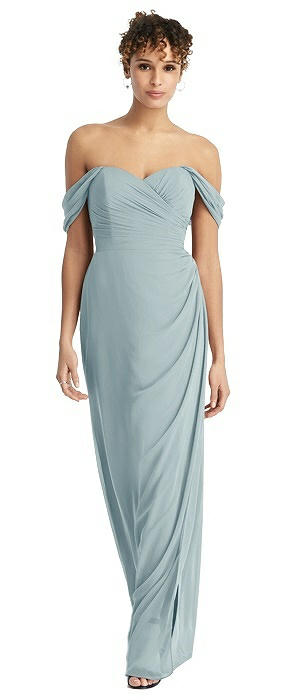 Draped Off-the-Shoulder Maxi Dress with Shirred Streamer