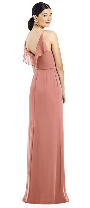 Ruffled Back Chiffon Dress with Jeweled Sash