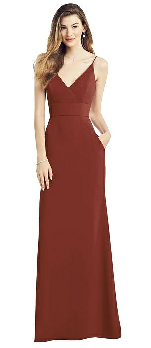 V-Back Spaghetti Strap Maxi Dress with Pockets