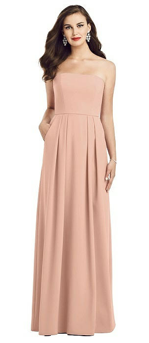 Strapless Pleated Skirt Crepe Dress with Pockets