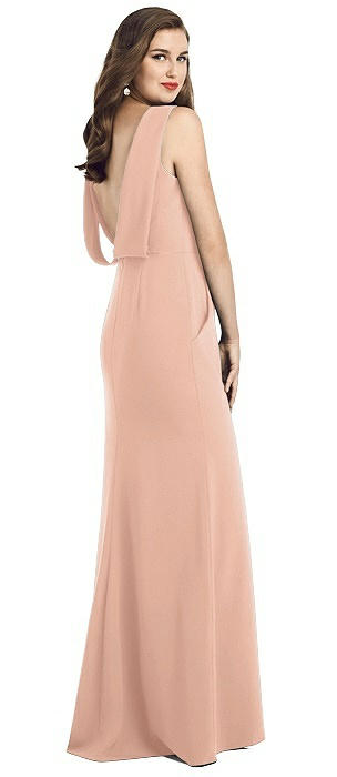 Draped Backless Crepe Dress with Pockets