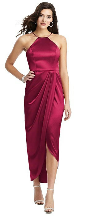 Halter Midi Dress with Draped Tulip Skirt