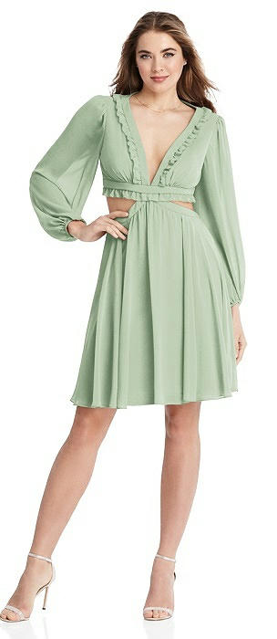 Bishop Sleeve Ruffled Chiffon Cutout Mini Dress - Hannah