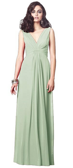 Draped V-Neck Shirred Chiffon Maxi Dress - Ari