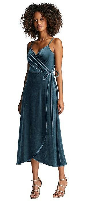 Velvet Midi Wrap Dress with Pockets