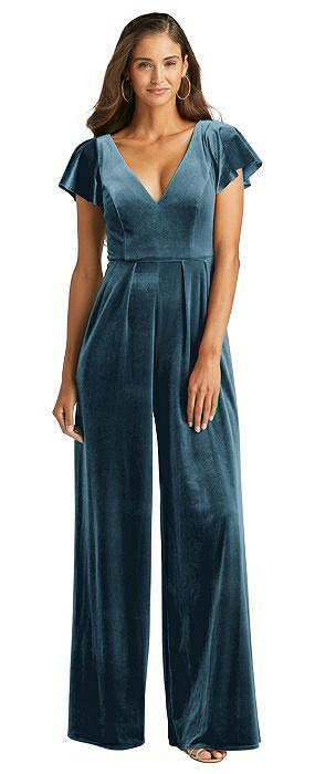 Flutter Sleeve Velvet Jumpsuit with Pockets