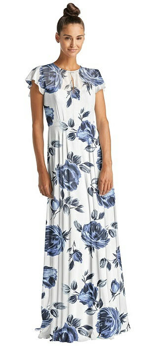 Flutter Sleeve Illusion Bodice Maxi Dress