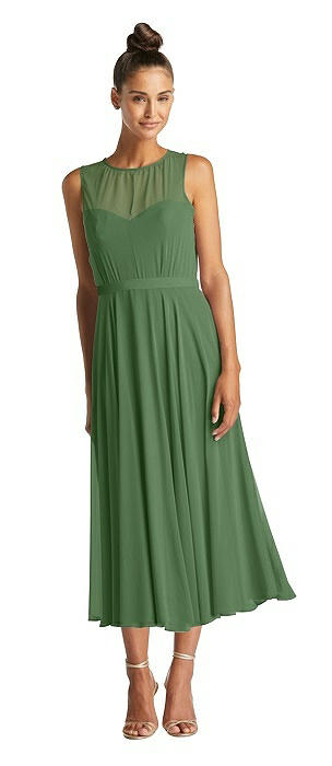 Illusion Neck Open-Back Chiffon Midi Dress