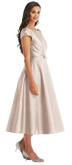 Puff Sleeve Bow-Waist Full Skirt Satin Midi Dress