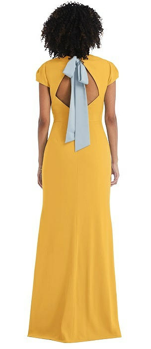 Puff Cap Sleeve Cutout Tie-Back Trumpet Gown
