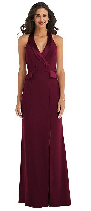 Halter Tuxedo Maxi Dress with Front Slit