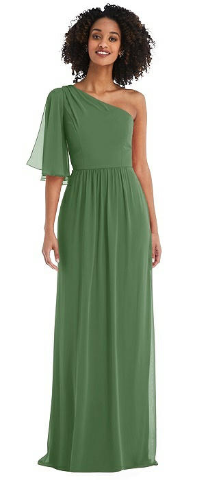 One-Shoulder Bell Sleeve Chiffon Maxi Dress