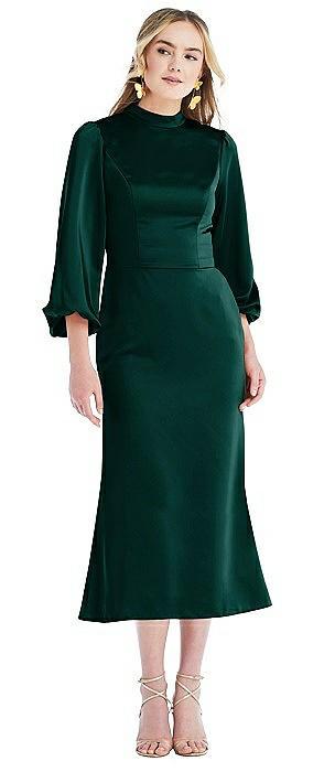 High Collar Puff Sleeve Midi Dress - Bronwyn