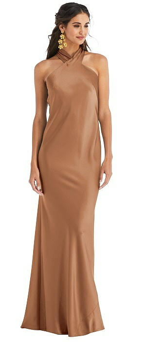 Draped Twist Halter Tie-Back Trumpet Gown - Imogen