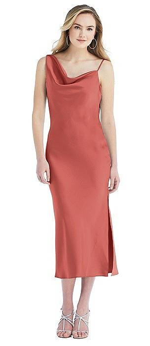 Asymmetrical One-Shoulder Cowl Midi Slip Dress