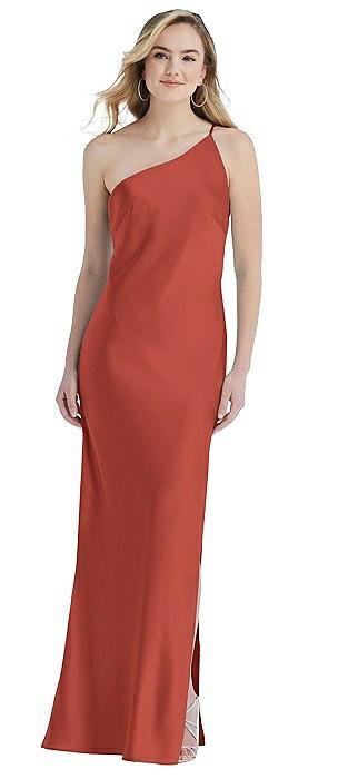 One-Shoulder Asymmetrical Maxi Slip Dress