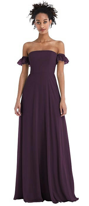 Off-the-Shoulder Ruffle Cuff Sleeve Chiffon Maxi Dress
