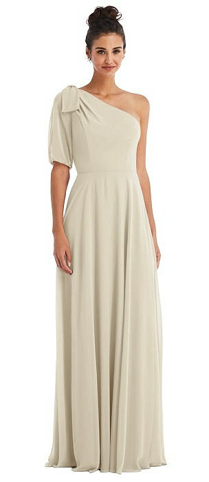 Bow One-Shoulder Flounce Sleeve Maxi Dress