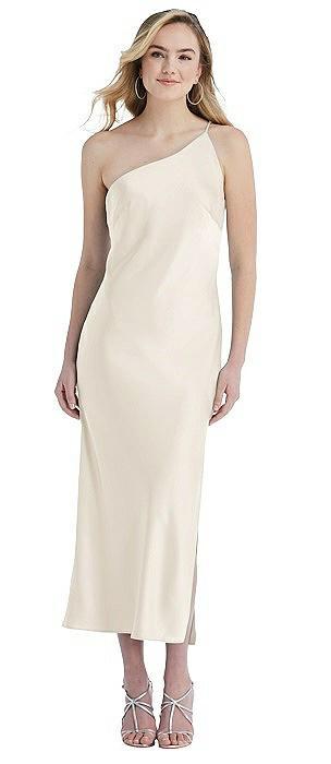 One-Shoulder Asymmetrical Midi Slip Dress
