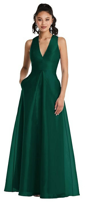 Plunging Neckline Pleated Skirt Maxi Dress with Pockets