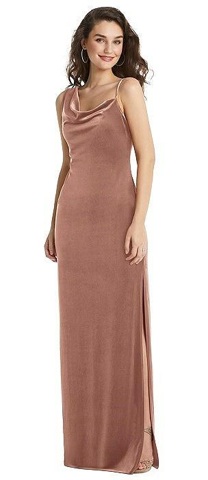 Asymmetrical One-Shoulder Velvet Maxi Slip Dress