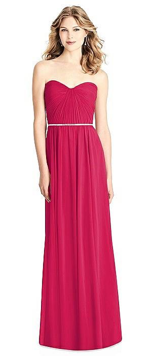 Strapless Pleated Bodice Dress with Jeweled Belt