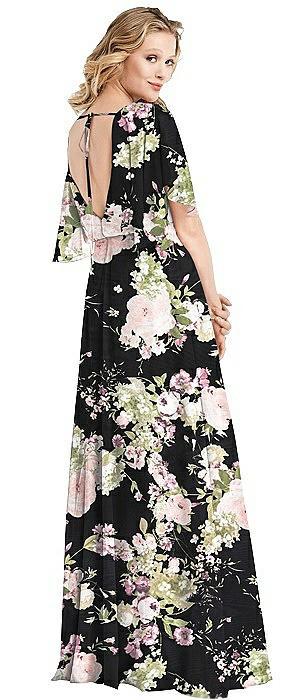 Flutter Sleeve Open-Back Maxi Dress