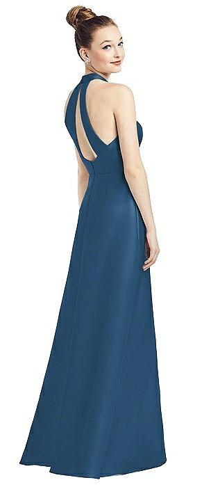 High-Neck Cutout Satin Dress with Pockets