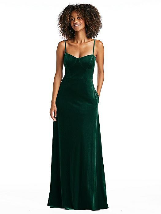 Bustier Velvet Maxi Dress with Pockets