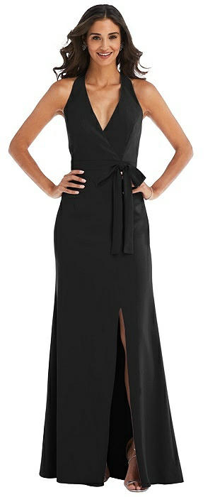 Open-Back Halter Maxi Dress with Draped Bow