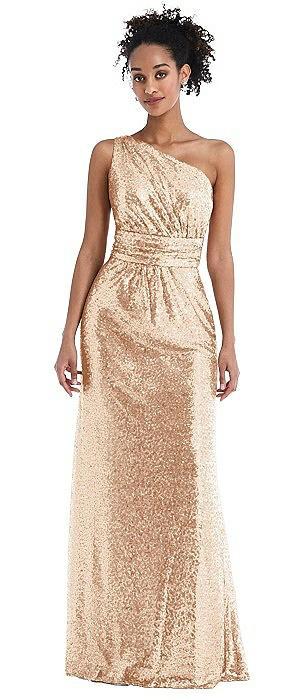 One-Shoulder Draped Sequin Maxi Dress