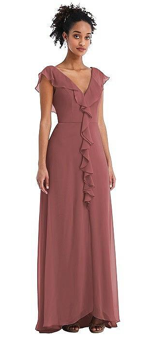 Ruffle-Trimmed V-Back Chiffon Maxi Dress